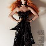Katy Perry with long copper hair color