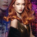 Copper shiny hair color with vintage hairstyle