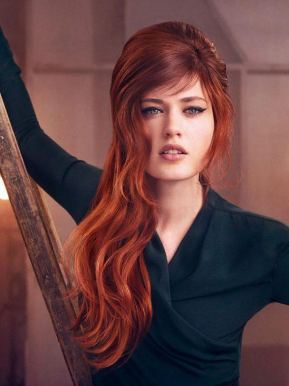 dark red to light auburn ombre hairstyle