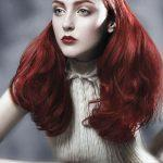 Long gothic red hairstyle