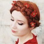 Crown braids with dark copper hair color