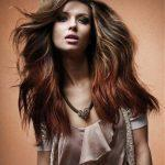Long brown hairstyle with red ombre