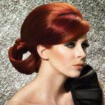 Brown copper hair color with a chic updo