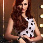 Brown red hair color with half pouf updo