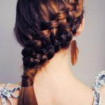 Chestnut braided hairstyle