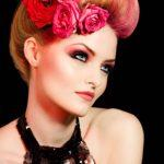 Vintage hairstyle with different red shades