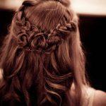 Long chestnut hair color with crown braids