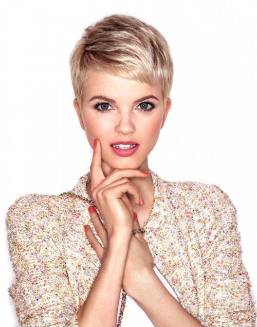 Beautiful blonde short haircut