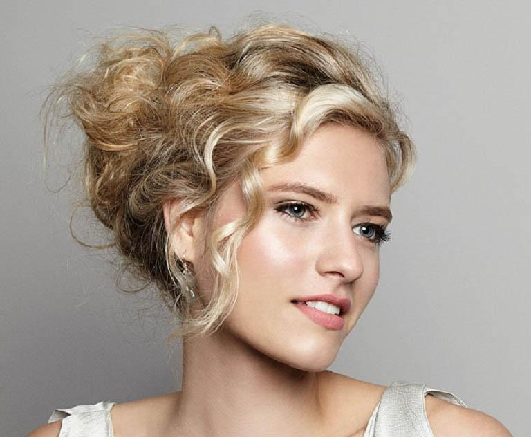 Medium hairstyle with messy updo