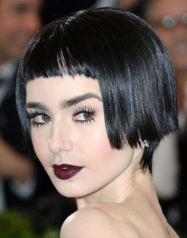Lily Collins, short bob haircut with blunt short bangs