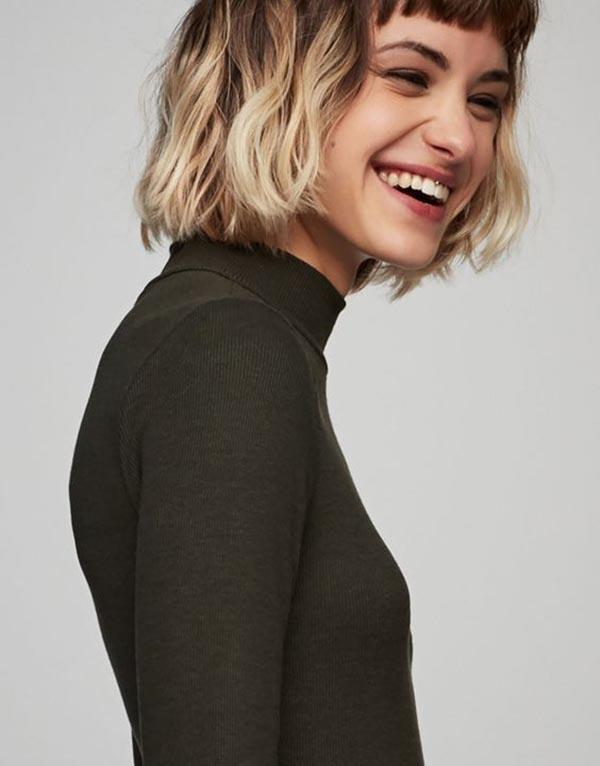 Short blunt bangs with bob haircut