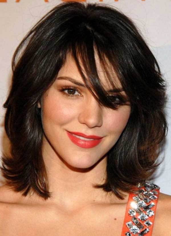 Dark brown layered shoulder length haircut