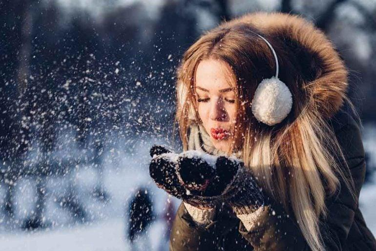 Healthy and shiny hair in winter